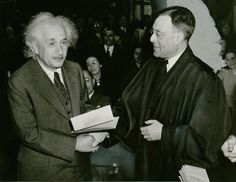 Albert Einstein receiving US citizenship papers from Judge Phillip Forman, January 1940.  In 1933, with Nazism gaining power, Einstein renounced his German citizenship, left the country and eventually ended up the United States. After the Second World War and the Holocaust becoming public knowledge, Einstein refused to have anything to do with Germany.