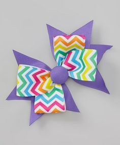 Take a look at this Rainbow Zigzag Button Bow Clip by Picture Perfect Hair Bows on #zulily today!