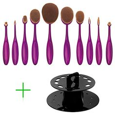 DSCbeauty 10 Pcs Oval Makeup Brush Set with Oval Brushes Holder Cosmetic Storage Organizer Foundation Contour Blush Concealer Eyebrow Eyeliner Blending Cosmetic Brushes Set Display Stand Dryer * Learn more by visiting the image link. (This is an affiliate link and I receive a commission for the sales)