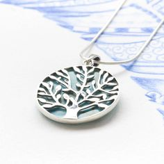 Silver and Turquoise Tree of Life Pendant | Charlotte's Web
