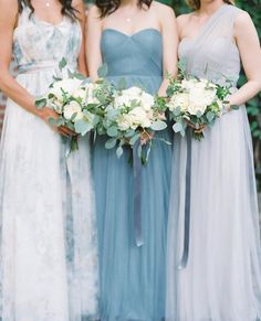 Mix and Match Convertible Bridesmaids dresses by Jenny Yoo. Printed Floral and Blues.