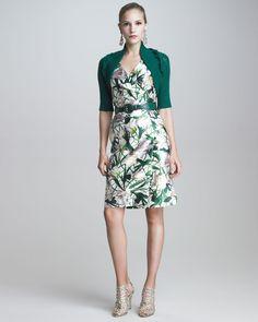 Oscar de la Renta Shrug with Cabled Details & V-Neck Faux-Wrap Dress - Bergdorf Goodman