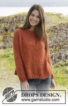 """Orange Crush - Knitted DROPS jumper with rib and raglan, worked top down in """"Nepal"""". Size: S - XXXL. - Free pattern by DROPS Design"""