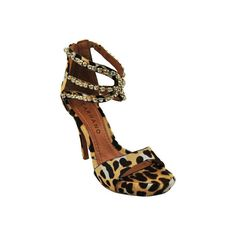 Carrano Women's Carrano 10484532 Sandal - Cinnamon Leopard Natural... ($295) ❤ liked on Polyvore featuring shoes, sandals, stilettos shoes, leather shoes, leather sandals, back zip sandals e strappy stilettos