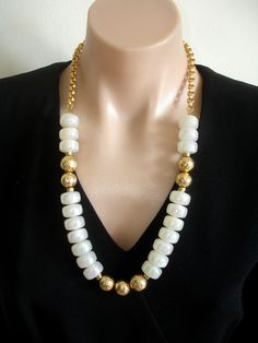 ASHIRA STATEMENT Necklace White Iridescent Vintage Lucite Beads Made in Austria, Gold Vermeil and Chain. $255.00, via Etsy.