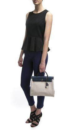 """Hermes Blue and Canvas Herbag Zip 31 Bag. This is what I'd call an """"every day"""" Hermes ;)"""
