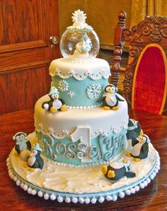 Such a cute cake, perhaps try something on a smaller scale but with these colours and penguins & snowman