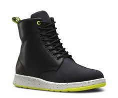 With premium leather panels mixed with lightweight woven Cordura®, the Rigal takes the iconic 8-eye boot and turns it into an even more iconic high-top. Seamlessly fusing a traditional Dr. Martens silhouette with our modern DM's Lite sole, this Rigal features subtle pops of color on the sole and uppermost eyelet for a fresh, street-savvy style. Featuring 8-eye lace fastening, technical woven upper and branded heel-loop, the Rigal is made with premium Temperley leather, a lightweight Phylo...