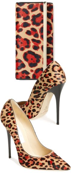 Jimmy Choo Fabulosity Animal Print Clutch & Pumps #JimmyChoo #Shoes #Choos