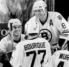 Adam Oates, Ray Bourque, and Cam Neely.