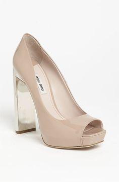 "Miu Miu Embellished Heel Pump, Approx. heel height: 5"" with 1 1/2"" platform (comparable to a 3 1/2"" heel), patent, peeptoe"
