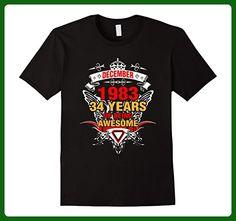 Mens December 1983 34th Birthday 34 Years Old Gift T-Shirt Small Black - Birthday shirts (*Amazon Partner-Link)