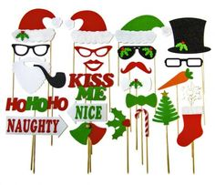 Christmas Photo Booth Props - Holiday Photo Booth Featuring Santa Clause Frosty Snowman Naughty Nice Style Props - Fun Party Photobooth