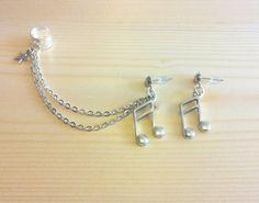 Silver Ear Cuff - Music Notes