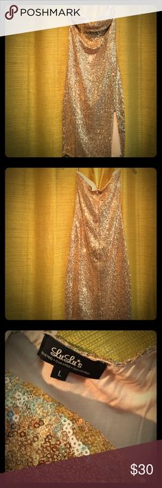 Gold Sequin Bodycon Dress Va va voom! Sexy strapless gold sequin dress with slit. Never worn. Lulu's Dresses Strapless