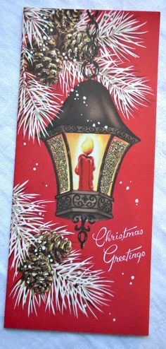 Vintage Christmas Card Glitter Candle by Pumpkintruckpaper