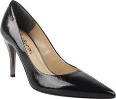 You are sure to turn some heads in this pointed toe pump with a metallic heel.