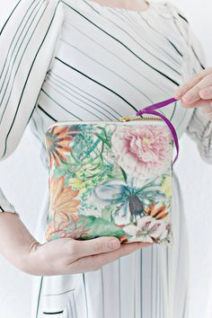 Floral fabric make up bag - zipper pouch by LRS