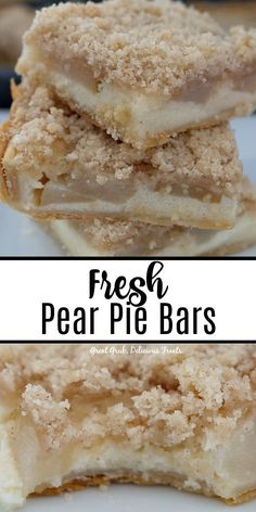 Fresh Pear Pie Bars are made with delicious juicy Bartlett pears and have a creamy, custard like filling then are topped with a crunchy, streusel topping. Fresh Pear Recipes, Pear Dessert Recipes, Fruit Recipes, Easy Desserts, Baking Recipes, Delicious Desserts, Cake Recipes, Yummy Food, Desserts With Pears
