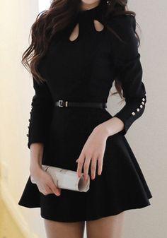 Black Three Keyholes - Dress