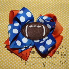 Football Hair Bow Center Embroidery Design by theappliquediva, $2.99
