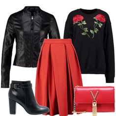 Outfit per una donna che sa osare, gonna a corolla rossa, felpa con ricami, giacca in similpelle, tronchetti dal tacco grosso, mini pochette scarlatta e preziosa.