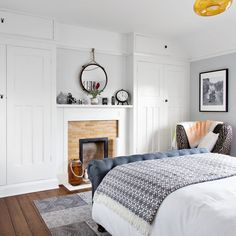 Classic bedroom makeover with woodland wallpaper and upholstered bed Alcove Wardrobe, Bedroom Alcove, Bedroom Built In Wardrobe, Bedroom Storage, Home Bedroom, Wardrobe Storage, Linen Storage, Book Storage, Master Bedrooms
