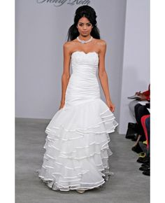 Appliques Fit and flared Draped Scallop Wedding Dress #Wedding #Dresses