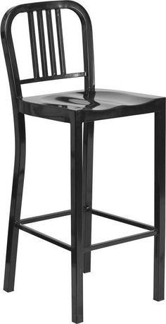 Flash Furniture CH-31200-30-BK-GG 30'' Black Metal Bar Stool