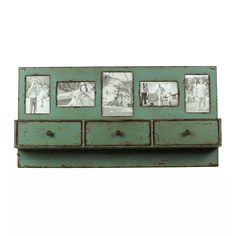 Pictures frames, storage space, and a shelf all in one adorable rustic package :-)