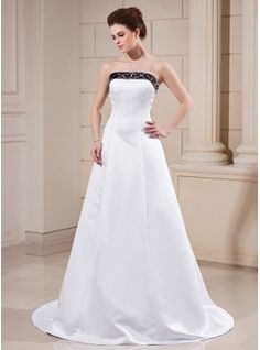 Wedding Dresses - $199.99 - A-Line/Princess Strapless Court Train Satin Wedding Dress With Sash Beading  http://www.dressfirst.com/A-Line-Princess-Strapless-Court-Train-Satin-Wedding-Dress-With-Sash-Beading-002000068-g68
