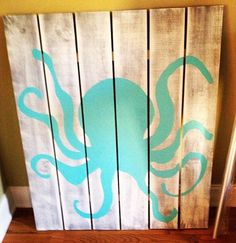 White washed nursery baby art teal octopus by JBsBasementWoodshop, $75.00