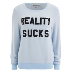 Wildfox Women's Reality Sucks Baggy Beach Jumper - Jacuzzi ($140) ❤ liked on Polyvore featuring tops, sweaters, blue, beach sweater, wildfox, blue top, jumper top and jumpers sweaters