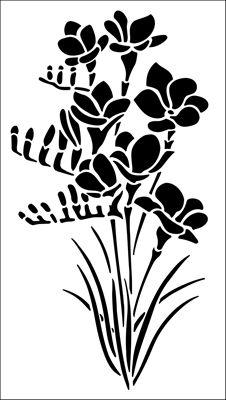 Freesia stencil from The Stencil Library GARDEN ROOM range. Buy stencils online. Stencil code GR10.
