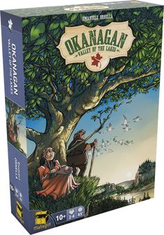 Canada's wealth is waiting for you! The Okanagan Valley, with its huge lakes and fertile meadows, awaits anyone willing to exploit it. Shape the land and store your wealth in the gathering and territory-building game Okanagan: Valley of the Lakes. In the game, players arrange tiles to design the landscape along with its natural resources — and it's your job to place one of the three buildings to obtain and secure these resources so that you can complete your objectives.