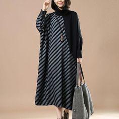 Stripe Turtleneck Long Dress