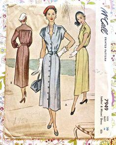 McCall 7949 - modèle Womens robe Vintage des années 1950 avec bouton devant et jupe Slim
