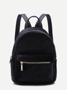 Black Velvet Front Zipper Backpack