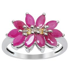 Orchid Jewelry 925 Sterling Silver 1 4/5ct TGW Ruby and Citrine Gemstone Ring