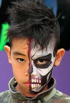 Cool half face halloween make up