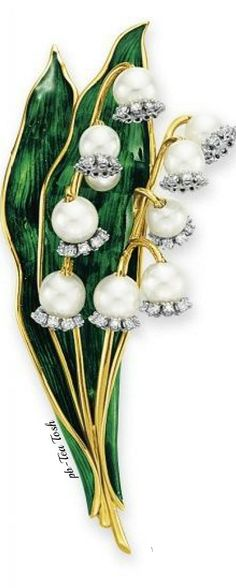 Diamond, Cultured Pearl & Enamel Lily of the Valley Brooch by Verdura ❇ Téa Tosh
