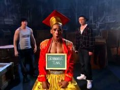 "On the Disney Channel TV show called ""So Random"", there was a skit named MC Grammar. The skit stared actor Brandon Michael Smith as a very dressed up MC Hammer with a gold and red graduate hat, always correcting the rappers in the skit. I loved watching this in high school because sometimes this skit would point out things that should be said in the correct way that I didn't know of. This skit taught verbs, adjectives, nouns, how to conjugate words and much more."