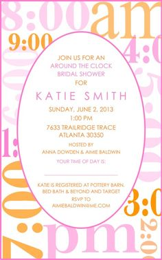 Around The Clock Bridal Shower Invitation  Bridal Showers Shower
