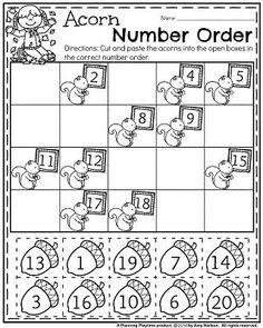 Fall Kindergarten Worksheets for November - Acorn Number Order. Go Math Kindergarten, Preschool Learning, Teaching Math, Preschool Activities, Geek Culture, Counting, Spanish Lessons, Math Lessons, Thanksgiving Worksheets