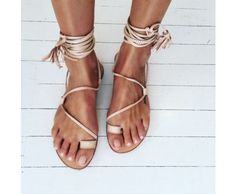 Splice X Splice Boutique The Bella Lace Up Leg Sandals- Natural