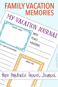 Capture your family vacation memories with a free printable journal page for kids! Create a DIY kids travel journal with this free printable - perfect for your next vacation! #OcalaMarion #ad