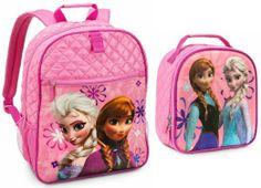 Disney Frozen Elsa and Anna Backpack and Lunch Tote/Box/Bag Set #DisneyFrozen