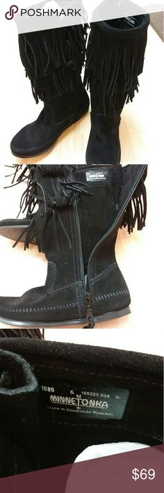 Minnetonka Moccasins Black suede two tier fringe moccasin boots, new without tags, never worn Minnetonka Moccasins Shoes Moccasins