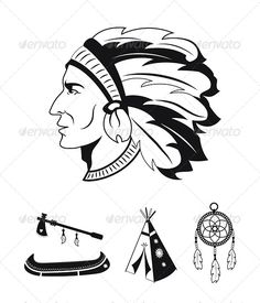 Native American Icons - Tattoos Vectors
