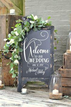Wedding Chalkboard - Welcome to our Wedding Sign - Wedding Decor by Church Street Designs #churchweddingdecorations